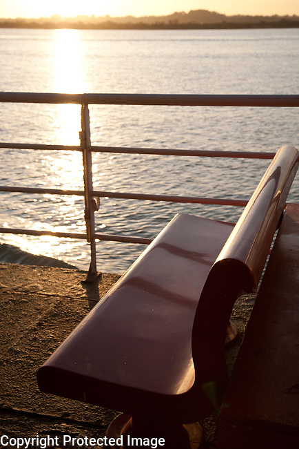 Seat on Ferry at dusk Looking out to Sea