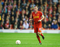 LIVERPOOL, ENGLAND - Thursday, October 4, 2012: Liverpool's captain Jamie Carragher in action against Udinese Calcio during the UEFA Europa League Group A match at Anfield. (Pic by David Rawcliffe/Propaganda)