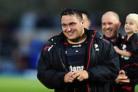Jamie George of Saracens is all smiles after the match. Aviva Premiership match, between Saracens and Leicester Tigers on October 29, 2016 at Allianz Park in London, England. Photo by: Patrick Khachfe / JMP