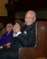 NEW YORK, NY - APRIL 3: Hon. David N. Dinkins pictured as David N. Dinkins, 106th Mayor of the City of New York, receives the Dr. Phyllis Harrison-Ross Public Service Award for a lifetime of public service at the New York Society of Ethical Culture in New York City on April 3, 2014. Credit: Margot Jordan/MediaPunch