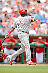 11 June 2006: Ryan Howard, first baseman for the Philadelphia Phillies, makes contact at the plate during a game against the Washington Nationals at RFK Stadium, in Washington, DC. The Nationals shut out the visiting Phillies 6-0 to take the series three games to one...Mandatory Photo Credit: Ed Wolfstein Photo..