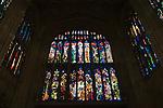 Eton college school, interior of college chapel, modern stained glass window. Eton near nr Windsor Berkshire