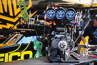 May 5, 2012; Commerce, GA, USA: Detailed view of the supercharger and injector scoop from the car of NHRA top fuel dragster driver Morgan Lucas (not pictured) during qualifying for the Southern Nationals at Atlanta Dragway. Mandatory Credit: Mark J. Rebilas-