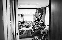 Lars van der Haar (NED/Telenet-Fidea) preparing in his camper pre-race<br /> <br /> elite men's race<br /> CX Superprestige Noordzeecross <br /> Middelkerke / Belgium 2017