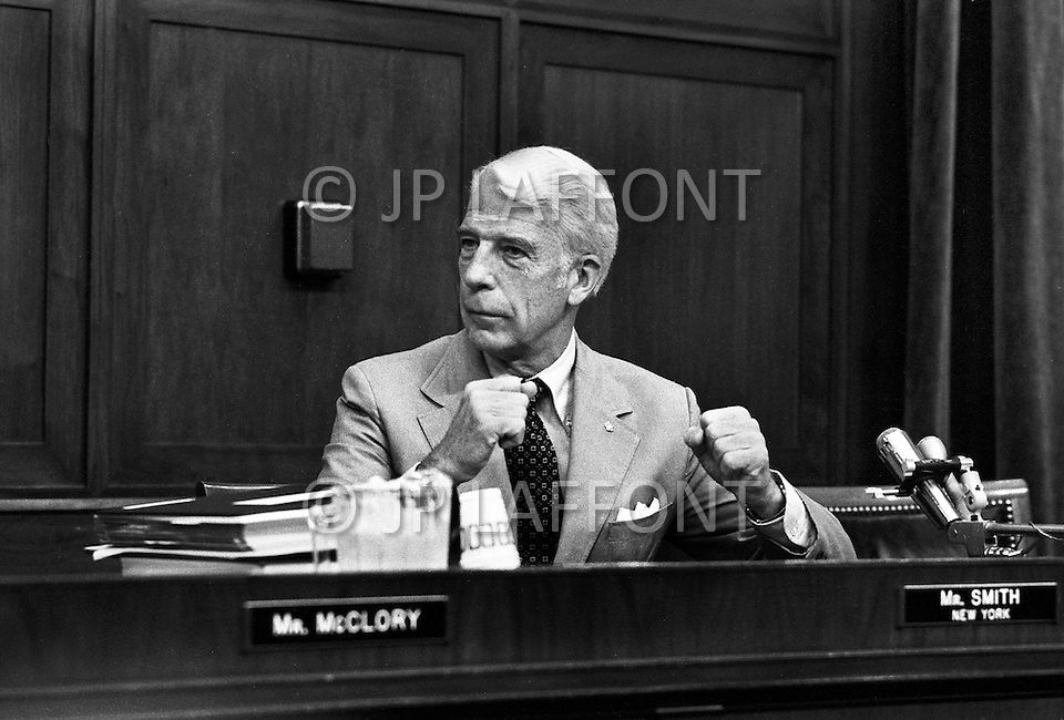 Washington DC,1973. Henry P. Smith III (R-New York)  during Watergate hearings. A break in at the Democratic National Committee headquarters at the Watergate complex on June 17, 1972 results in one of the biggest political scandals the US government has ever seen.  Effects of the scandal ultimately led to the resignation of  President Richard Nixon, on August 9, 1974, the first and only resignation of any U.S. President.