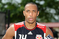 New York Red Bulls Thierry Henry (14) is interviewed after a New York Red Bulls practice on the campus of Montclair State University in Upper Montclair, NJ, on July 16, 2010.