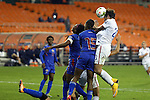 20 October 2014: Abby Wambach (USA) (20) heads the ball over Shanna Hudson (HAI) (15). The United States Women's National Team played the Haiti Women's National Team at RFK Memorial Stadium in Washington, DC in a 2014 CONCACAF Women's Championship Group A game, which serves as a qualifying tournament for the 2015 FIFA Women's World Cup in Canada. The U.S. won the game 6-0.
