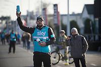 bidons for grabs!<br /> by Team SKY carer Ben Jenkins<br /> <br /> Kuurne-Brussel-Kuurne 2016