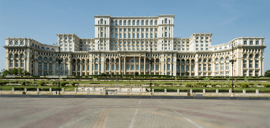 Facade of the Parliament Palace in Bucharest.