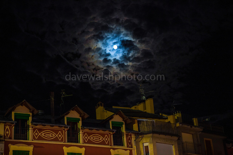 Moonlight through the clouds over Puigcerdà, Catalonia, Spain, January 3rd 2015.