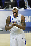 Freshman forward DeMarcus Cousins laughs after a personal foul was made on Wake Forest during the second half of the UK men's basketball against Wake Forest for the second round of the NCAA tournament at New Orleans Arena on Saturday, March 20, 2010. The Cats won 90-60 over the Deacs. Photo by Adam Wolffbrandt | Staff