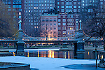 Christmas snow in the BostonPublic Garden, Boston, Massachusetts, USA
