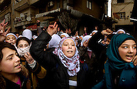 "Schoolgirls demonstrate against the Syrian regeime in the centre of Zabadani, the only town in Syria officially held by the rebels. The hill town, which is surrounded by government forces, lives in constant fear of attack. The girls shout ""We support the Free Syrian Army"", ""Assad, go to hell"" and ""The people want the end of the regieme"". Protests against the ruling Baathist regime of Bashar al-Assad erupted in March 2011. Although they were initially peaceful,  they were violently repressed by the Syrian army and police. In response to being ordered to shoot unarmed civilians, large numbers of men deserted the army and formed the Free Syrian Army. The protest movement has now turned into an armed uprising with clashes between the regular army and the Free Syrian Army taking place in early 2012.."