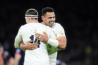 Ben Te'o of England celebrates the win with team-mate Jonny May at the final whistle. RBS Six Nations match between England and France on February 4, 2017 at Twickenham Stadium in London, England. Photo by: Patrick Khachfe / Onside Images