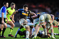 Danny Care of Harlequins box-kicks the ball. Aviva Premiership match, between Harlequins and Sale Sharks on January 7, 2017 at the Twickenham Stoop in London, England. Photo by: Patrick Khachfe / JMP