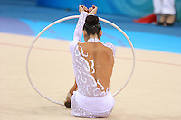 August 23, 2008; Beijing, China; Rhythmic gymnast Anna Bessonova of Ukraine begins routine for hoop on way to winning bronze in the Individual All-Around final at 2008 Beijing Olympics..(©) Copyright 2008 Tom Theobald