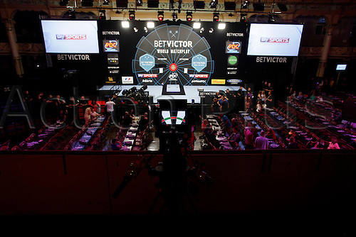 24.07.2015.  Blackpool, England. BetVictor World Matchplay Darts. General view of the Winter Gardens before play begins in the remaining quarter final matches tonight.