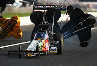 Sep 4, 2016; Clermont, IN, USA; NHRA top fuel driver Terry McMillen during qualifying for the US Nationals at Lucas Oil Raceway. Mandatory Credit: Mark J. Rebilas-USA TODAY Sports
