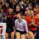 Illinois' Tayler Onion (16) leads the cheers of the bench after a point during game action of the 2011 NCAA Division I Women's Volleyball Championship National Semifinal Match #2 against USC at the Alamodome on Thursday, Dec. 15, 2011. Illinois defeated USC in five sets, 25-27, 25-18, 25-22, 18-25 and 15-10 in the tie breaker.
