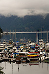Marina against cloudy sky. Deep Cove, North Vancouver, British Columbia, Canada.