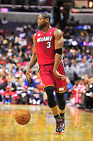 Dwyane Wade of the Heat dribbles the ball. Washington Wizards defeated the Miami Heat 105-101 at the Verizon Center in Washington, D.C. on Tuesday, December 4, 2012.   Alan P. Santos/DC Sports Box