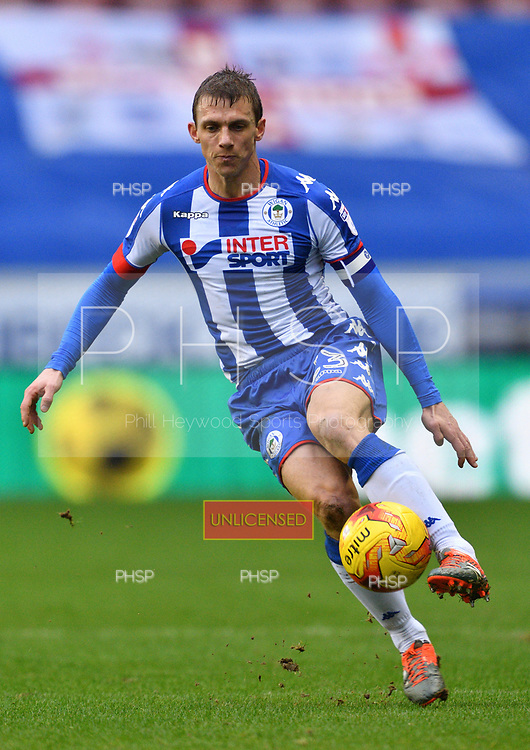 25/02/2017 Sky Bet Championship Wigan Athletic v Nottingham Forest<br /> <br /> Stephen Warnock, Wigan Athletic FC