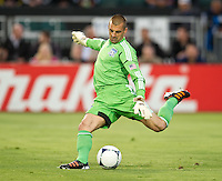 SANTA CLARA, CA - July 18, 2012: San Jose Earthquakes goalie Jon Busch (18) during the San Jose Earthquakes vs  FC Dallas match at the Buck Shaw Stadium in Santa Clara, California. Final score San Jose Earthquakes 2, FC Dallas 1.