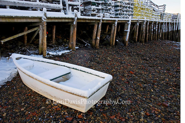 Bass Boat Shelters : Skiff snowy lobster traps on dock bass harbor maine