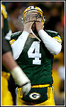 Green Bay's Brett Favre reacts to his interception on a 1st and 3 from the 3-yard line in the 3rd quarter. .The Green Bay Packers hosted the Jacksonville Jaguars at Lambeau Field, Sunday December 19, 2004. WSJ/Steve Apps.