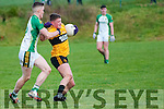 Listowel Emmet's Conor Cox wins the ball despite the close attention of Ballydonoghue's Jason Foley in the semi final of the Bernard O'Callaghan Memorial Senior Football 2016 Championship sponsored by McMunns, ballybunion played in Con Brosnan Park, Moyvane on Sunday last.