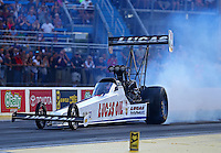 Jul 8, 2016; Joliet, IL, USA; NHRA top fuel driver Richie Crampton during qualifying for the Route 66 Nationals at Route 66 Raceway. Mandatory Credit: Mark J. Rebilas-USA TODAY Sports