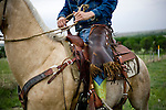 Cowboy riding his horse in a field in Ogallala, Nebraska.