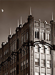 A gothic building with moon