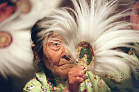 Elder MaryAnn Sundown dances at Bethel's Camai dance festival in 2002.
