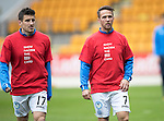 St Johnstone v Kilmarnock&hellip;15.10.16.. McDiarmid Park   SPFL<br />Michael Coulson and Chris Millar wearing Show Racism The Red Card t-shirts<br />Picture by Graeme Hart.<br />Copyright Perthshire Picture Agency<br />Tel: 01738 623350  Mobile: 07990 594431