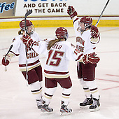 Alex Carpenter (BC - 5), Emily Field (BC - 15), Ashley Motherwell (BC - 18) - The Boston College Eagles defeated the visiting Mercyhurst College Lakers 4-2 (EN) on Friday, December 9, 2011, at Kelley Rink/Conte Forum in Chestnut Hill, Massachusetts.