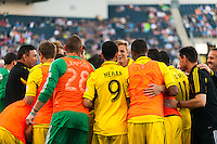 Columbus Crew players huddle prior to playing the Philadelphia Union. The Philadelphia Union defeated the Columbus Crew 3-0 during a Major League Soccer (MLS) match at PPL Park in Chester, PA, on June 5, 2013.