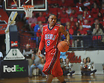 Ole Miss guard Dundrecous Nelson (5) dribbles at the C.M. &quot;Tad&quot; Smith Coliseum in Oxford, Miss. on Tuesday, February 1, 2011. Ole Miss won 71-69.