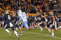 North Carolina wide receiver Mack Hollins scores on a 32-yard touchdown catch. The North Carolina Tar Heels football team defeated the Pitt Panthers 26-19 on Thursday, October 29, 2015 at Heinz Field, Pittsburgh, Pennsylvania.