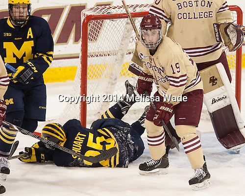 Ryan Fitzgerald (BC - 19) - The Boston College Eagles defeated the visiting University of Michigan Wolverines 5-1 (EN) on Saturday, December 13, 2014, at Kelley Rink in Conte Forum in Chestnut Hill, Massachusetts.
