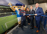 Kenny Miller opens Broxi's Den the new sensory room at Ibrox for children with complex learning difficulties. Kenny is joined by Broxi Bear, Liz Kay, Stewart Robertson and John Brown