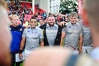 Bath Rugby players huddle together after the match. Aviva Premiership match, between Gloucester Rugby and Bath Rugby on October 1, 2016 at Kingsholm Stadium in Gloucester, England. Photo by: Patrick Khachfe / Onside Images