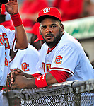 18 March 2009: Washington Nationals' outfielder Wily Mo Pena stands in the dugout prior to a televised Spring Training game against the Florida Marlins at Space Coast Stadium in Viera, Florida. The Marlins defeated the Nationals 7-5 in the Grapefruit League matchup. Mandatory Photo Credit: Ed Wolfstein Photo