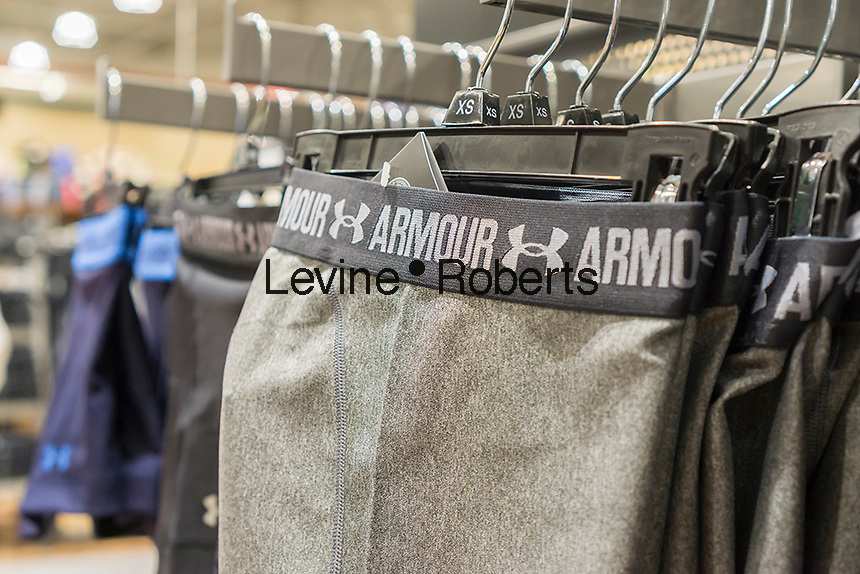 Under Armour brand clothing in new Dick's Sporting Goods store in the Glendale neighborhood of Queens in New York during its grand opening sales on Saturday, March 11, 2017. The new store is in a location formerly occupied by the now closed Sports Authority.  (© Richard B. Levine)