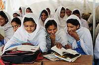 Students of all female Gundi Pira Secondary School in earthquake area of Pattika, Pakistan