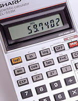 SCIENTIFIC CALCULATOR READS 59.7402<br /> Liquid Crystal Display (LCD)<br /> (Variations Available) <br /> The least accurate part of the input to a problem will determine the accuracy of the final result and the number of significant figures in the answer.