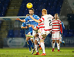 St Johnstone v Hamilton Accies....016.01.16  SPFL  McDiarmid Park, Perth<br /> Simon Lappin and Ziggy Gordon<br /> Picture by Graeme Hart.<br /> Copyright Perthshire Picture Agency<br /> Tel: 01738 623350  Mobile: 07990 594431