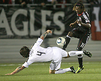 Joseph Ngwenya(11) of D.C. United sends the ball over Danny Califf(4) of the Philadelphia Union during a play-in game for the US Open Cup tournament at Maryland Sportsplex, in Boyds, Maryland on April 6 2011. D.C. United won 3-2 after overtime penalty kicks.