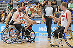 November 18 2011 - Guadalajara, Mexico:   Patrick Anderson of Team Canada passes the ball to Adam Lancia during the Bronze Medal Game in the CODE Alcalde Sports Complex at the 2011 Parapan American Games in Guadalajara, Mexico.  Photos: Matthew Murnaghan/Canadian Paralympic Committee