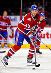 22 March 2010: Montreal Canadiens' center Maxim Lapierre warms up prior to a game against the Ottawa Senators at the Bell Centre in Montreal, Quebec, Canada. The Senators shut out the Canadiens 2-0 in their last meeting of the regular season. Mandatory Credit: Ed Wolfstein Photo